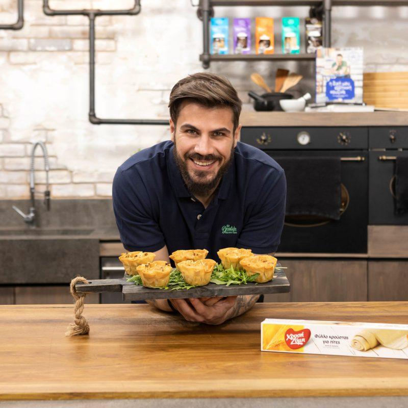 Ταρτάκια με Μανιτάρια και Μπεσαμέλ, πράσο και μπέικον σε φύλλο κρούστας για πίτες