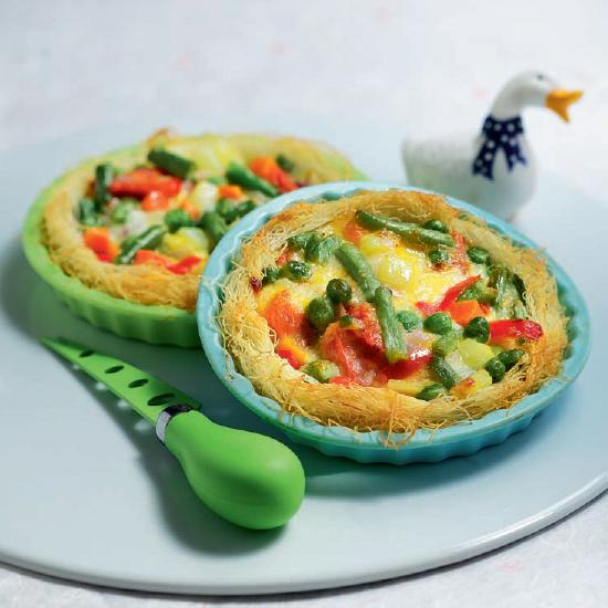 Φωλίτσες με Πολύχρωμα Λαχανικά και Τυρί σε Φύλλο Καταΐφι Χρυσή Ζύμη