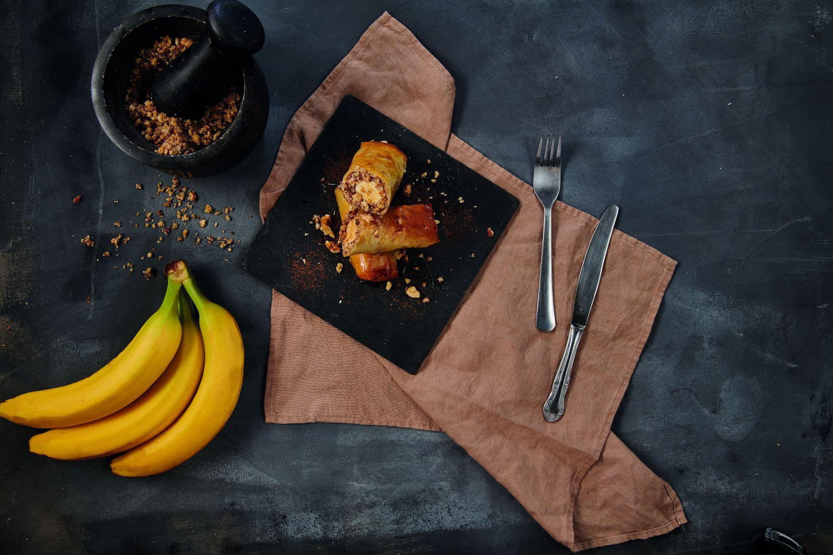 Spring Rolls με Μπανάνα και Ξηρούς Καρπούς σε φύλλο Κρούστας για Γλυκά Χρυσή Ζύμη