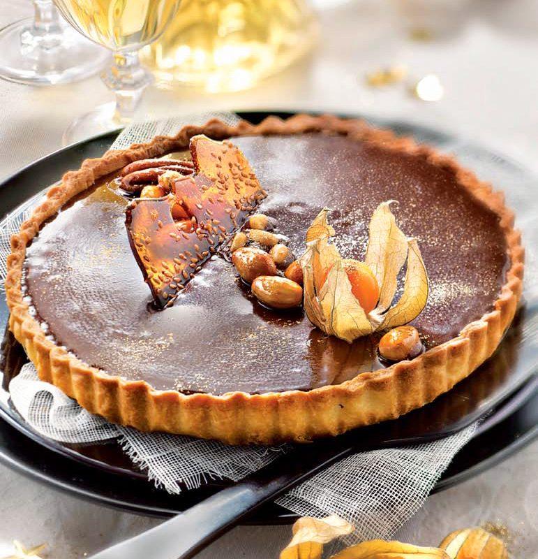 Τάρτα με Σοκολάτα Toffee και Αποξηραμένα Φρούτα μεΖύμη Κουρού Χρυσή Ζύμη