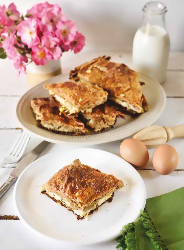 Πίτα Ολικής Άλεσης με Κοτόπουλο και Καλαμπόκι με χωριάτικο φύλλο ολικής Χρυσή Ζύμη